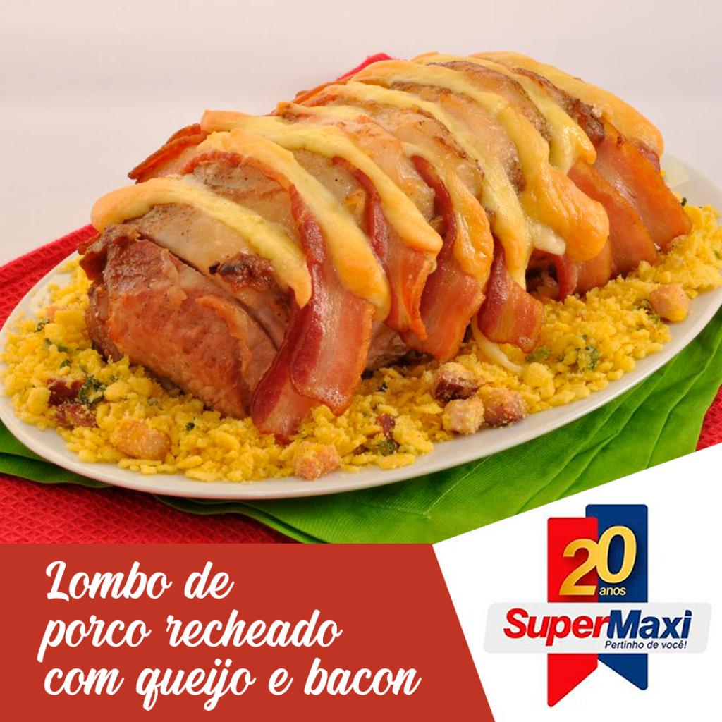 Lombo de porco recheado com queijo e bacon